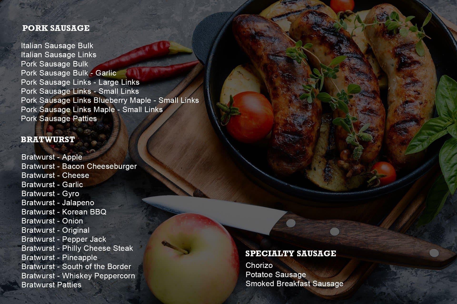 sausages-menu